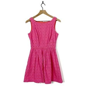 Lilly Pulitzer Pink Floral Lace Fit & Flare Dress